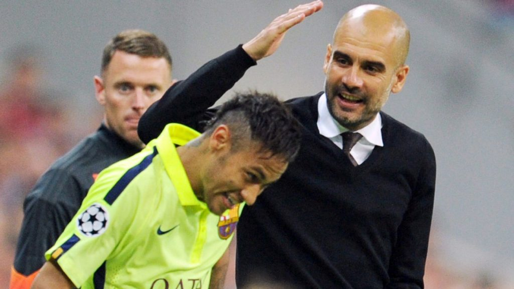 Pep Guardiola (right) is wary of Neymar's threat ahead of Tuesday's Champions League semi-final first leg